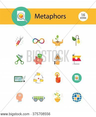 Metaphors Icon Set. Money Rain, Bread, Stop Sign, Idea. Metaphor Concept. Can Be Used For Topics Lik