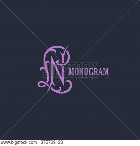 Luxury Vintage Monogram Letters L And N Design Template. Vector Illustration.