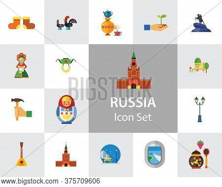 Russia Icon Set. Kremlin Saint Basil Cathedral Valenki Russian Rooster Samovar Matryoshka Bear With