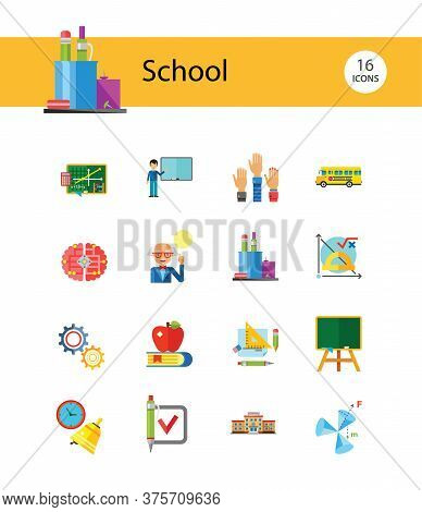 School Icon Set. School Pencil School Bus Pencil Stand Stationery Math Formula Knowledge Vitruvian M