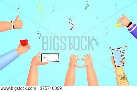 Set Of People Hands Liking, Taking Photos, Thumb Up, Holding Review Star. Applause, Ovation, Celebra
