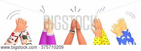 Set Of People Hands Clapping. Applause, Ovation, Celebrating, Rapture. 3d Render Illustration In Cut