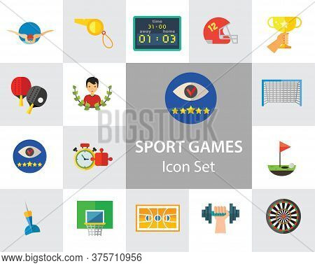 Sport Games Icon Set. Champions Cup Table Tennis Swimming Sport Whistle Scoreboard Shuttlecock Golf