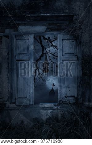 Bat Sleep And Hang On Dead Tree In Old Damaged Wood Window With Wall Over Cross, Church, Birds And S
