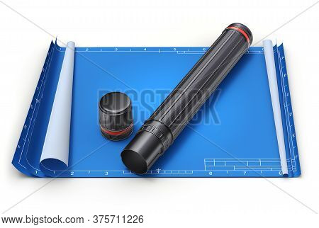 Document Plan Tube On Empty Blueprint - 3d Illustration