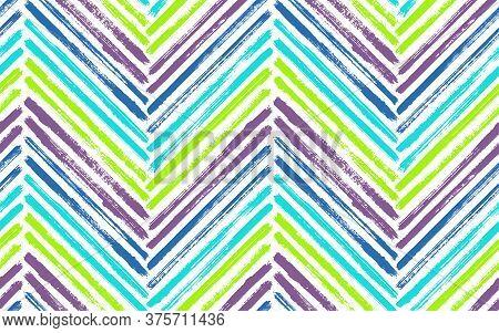 Dry Chevron Fashion Print Vector Seamless Pattern. Paintbrush Strokes Geometric Stripes. Hand Drawn