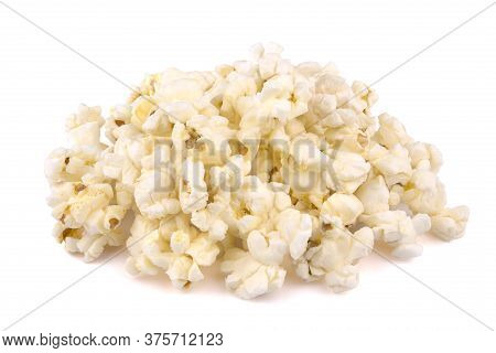 Heap Of Delicious Popcorn, Isolated On White Background, Tasty, Natural