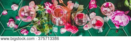 Flat-lay Of Rose Lemonade With Ice And Petals, Wide Composition