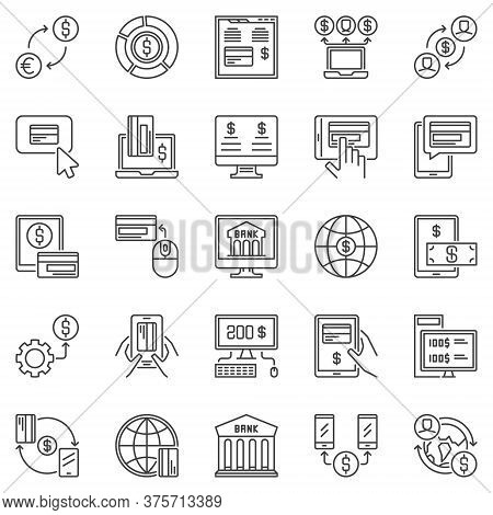 Online Banking Outline Icons Set. Vector Internet Or Mobile Banking Concept Money Symbols. Payment A