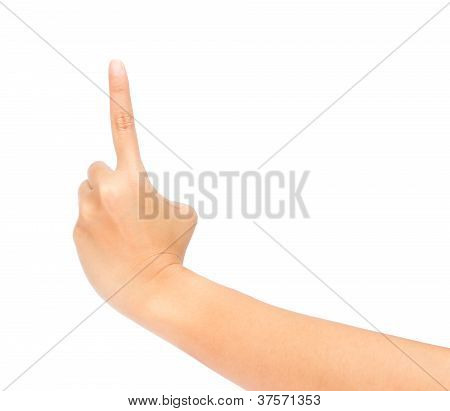 Woman Hand Touching Virtual Screen. Isolated On White.