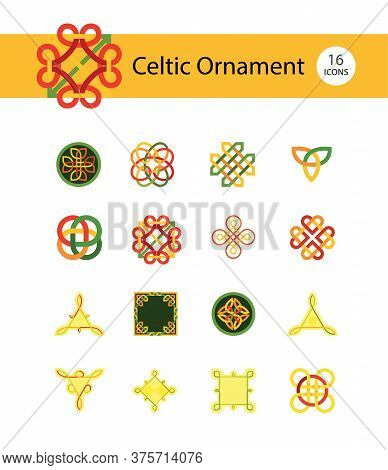 Celtic Ornament Icon Set. Infinite Endless Eternal Decorative Knot Buddhist Symbol Celtic Shield Sym