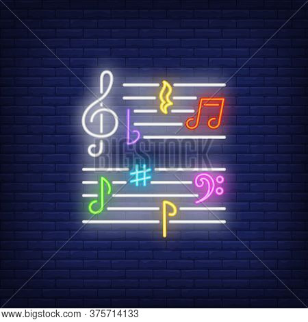 Various Music Notes Neon Sign. Classical Music, Concert Or Advertisement Design. Night Bright Neon S