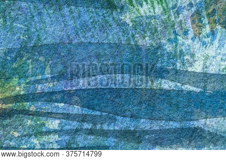Abstract Art Background Navy Blue And Green Colors. Watercolor Painting On Canvas With Turquoise Gra