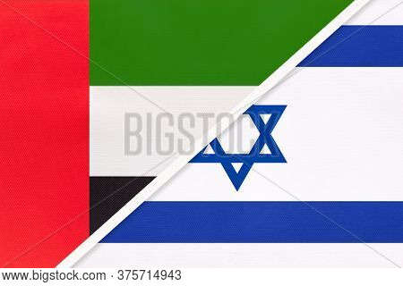 United Arab Emirates Or Uae And Israel, Symbol Of National Flags From Textile. Relationship, Partner