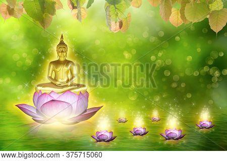 Buddha Statue Water Lotus Buddha Standing On Lotus Flower On Orange Background. Buddhism Is Popular