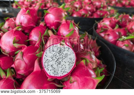 Dragon Fruit In The Market In Thailand. Dragon Fruit On Plant, Raw Pitaya Fruit On Tree, A Pitaya Or
