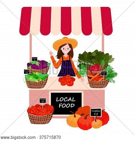 Farmer Market Stall With Local Products. Woman Selling Fresh Vegetables On Village Fair. Female With