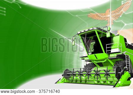 Agriculture Innovation Concept, Green Advanced Rural Combine Harvester On Zambia Flag - Digital Indu