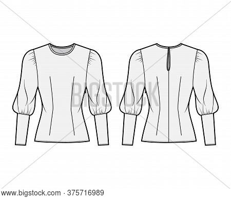 Blouse Technical Fashion Illustration With Round Neckline, Puffy Mutton Sleeves, Fitted Body. Flat A