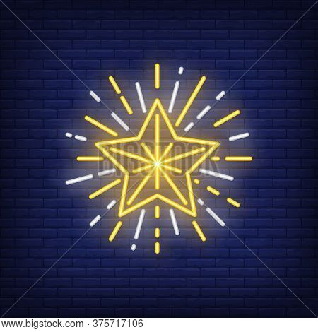Sparkling Star Neon Sign. Glowing Star With Sparkles On Dark Blue Brick Background. Can Be Used For