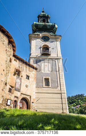 Banska Stiavnica,slovakia - July 9,2020 - View At The Old Castle Tower In Banska Stiavnica. Banska S