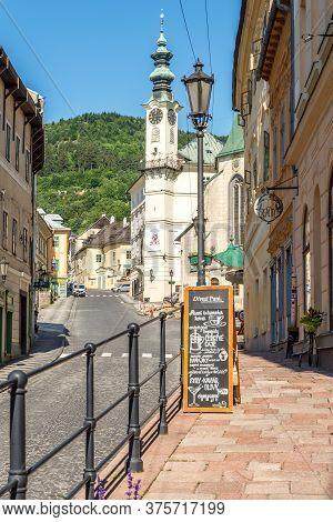 Banska Stiavnica,slovakia - July 9,2020 - In The Streets Of Banska Stiavnica. Banska Stiavnica Is A