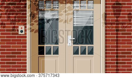 Wooden Cottage Door With Windows And Window Blind On Street. Closed Door With Chrome Handle And Bell