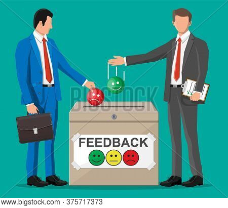 Business People And Rating Box. Reviews Smiles Faces. Testimonials, Rating, Feedback, Survey, Qualit
