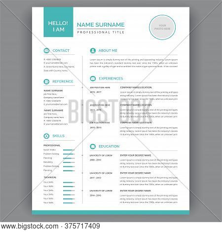 Clean Resume Or Cv Templates Design . Vector Illustration - Elegant Stylish Design - Blue And White