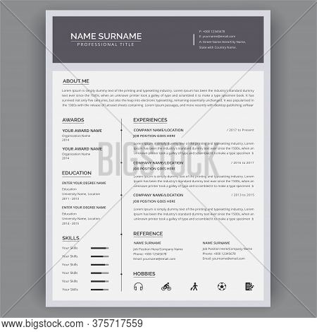 Cv / Resume Templates. Vector Minimalist Design - Modern Curriculum Vitae Vector Illustration.