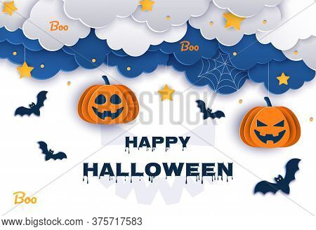 Halloween classic blue background with pumpkins and bats in paper style, 3D vector. Happy Halloween Halloween classic blue background with pumpkins and bats in paper style, 3D. Happy Halloween banner or party invitation background with clouds