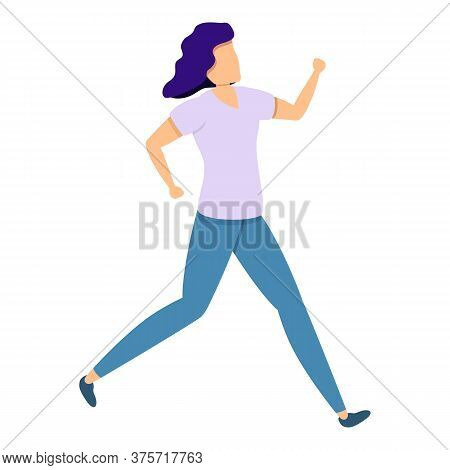 Woman Slow Running Icon. Cartoon Of Woman Slow Running Vector Icon For Web Design Isolated On White
