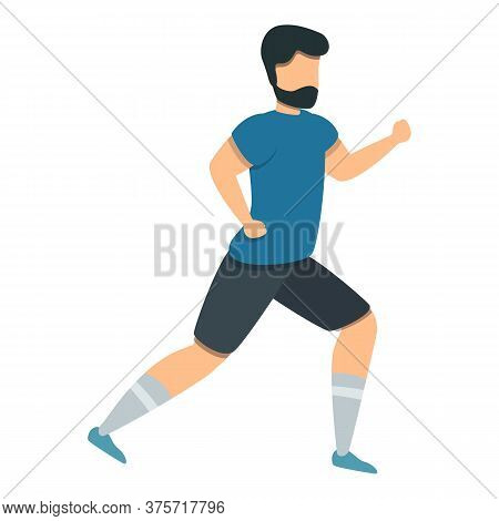Soccer Player Running Icon. Cartoon Of Soccer Player Running Vector Icon For Web Design Isolated On
