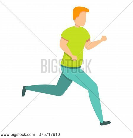 Boy Workout Running Icon. Cartoon Of Boy Workout Running Vector Icon For Web Design Isolated On Whit