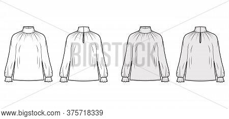 Turtleneck Blouse Technical Fashion Illustration With Long Sleeves, Flouncy Ruffled Cuffs, Oversized