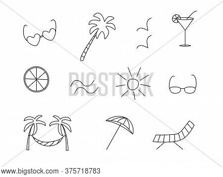 Vector Icons Are A Symbol Of Summer. Sun Palm Glasses Hammock Chaise Longue Seagulls Cocktail Lemon