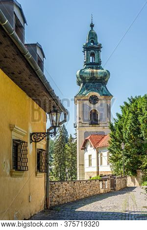View At The Old Castle Tower From Street In Banska Stiavnica - Slovakia