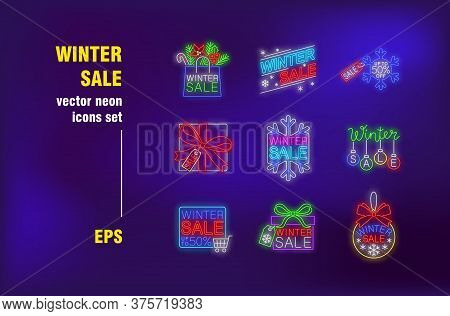 Winter Sale Neon Signs Set. Shopping Bags, Bauble, Gift Box, Snowflake. Night Bright Advertising. Ve