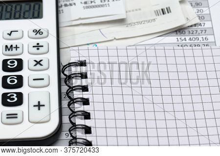 cash registers purchase receipt, calculator and financial reports, analysis and accounting, various office items for bookkeeping