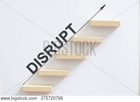 Wooden Stair Made By Wooden Cube Block With Text Disput