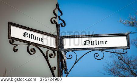 Street Sign The Direction Way To Online Versus Offline