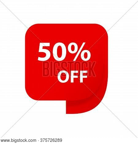 Sale 50% Off Discount Sticker Icon Vector Red Tag Discount Offer Price Label For Graphic Design, Log