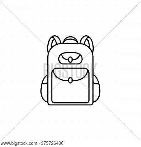 Backpack Icon Is Isolated On A White Background. School Backpack Or Travel, Walking, Hiking, Camping