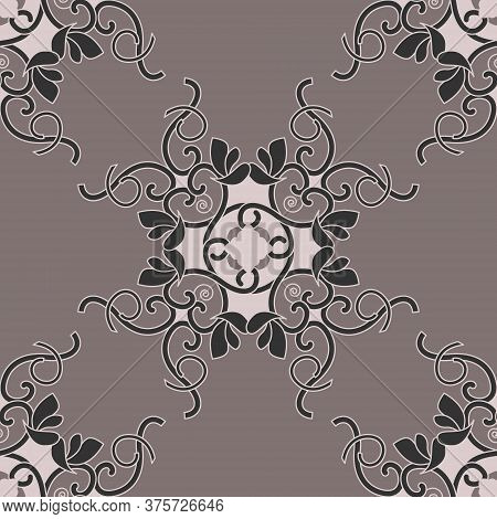 Seamless Pattern With Hearts, Spirals And Birds. Colors Pinkish Brown Dark And Pinkish Brown Light,