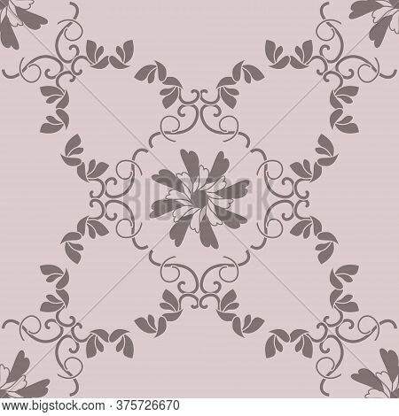 Seamless Pattern With Hearts, Interlaced Spirals And Birds. Colors Pinkish Brown Dark And Pinkish Br