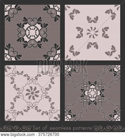 Set Of Seamless Patterns With Hearts, Interlaced Spirals And Birds. Colors Pinkish Brown Dark And Pi