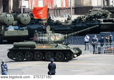 Moscow, Russia - June 24, 2020:t-34-85 Medium Tank With A Red Banner On Okhotny Ryad During The Para