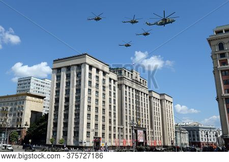 Moscow, Russia - June 24, 2020:military Transport Mi-26 And Multi-purpose Mi-8amtsh Helicopters In T