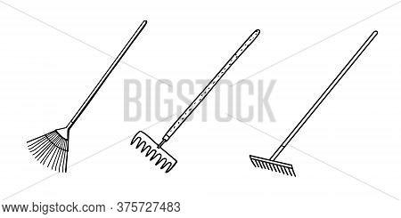 Garden Tools Set: Earth Rake For Loosening The Soil, Isolated On A White Background.vector Illustrat