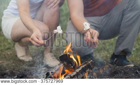 Guy And The Girl Are Frying Marshmallows On A Campfire. Friends Hold Sticks With Marshmallows Over A
